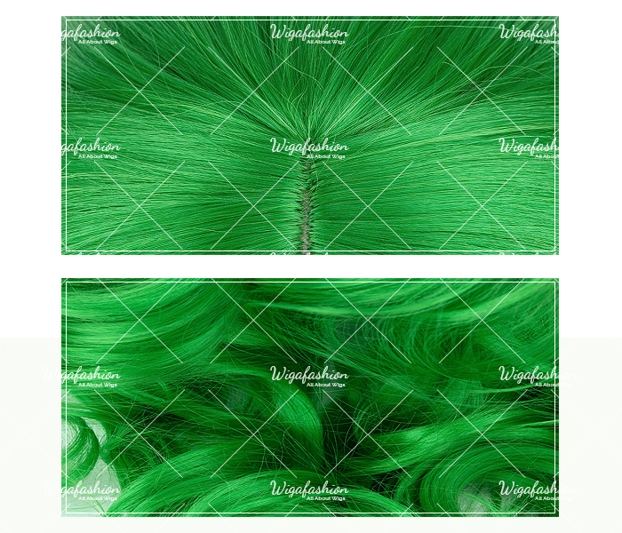 Two Tone Green/Blue Long Wavy 65cm-closeup.jpg