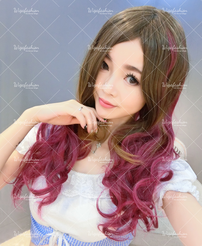 Cream Pink Cyan highlight Long Wavy 65cm-4.jpg