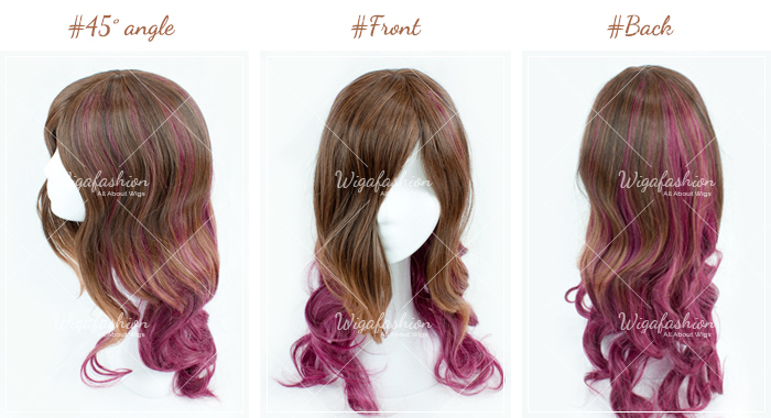 Cream Pink Cyan highlight Long Wavy 65cm-45-front-back.jpg