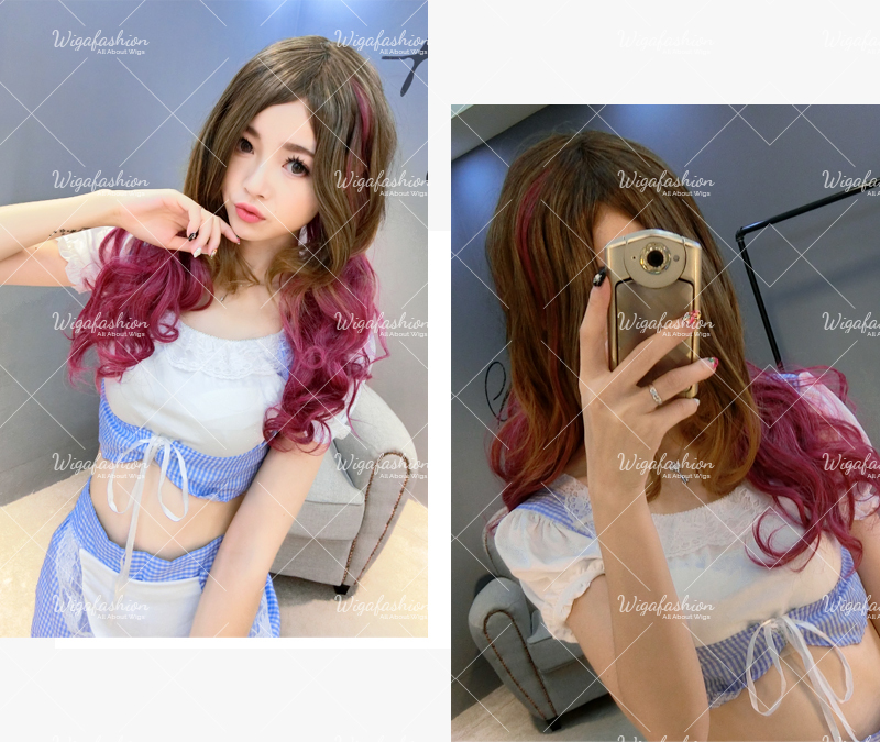 Cream Pink Cyan highlight Long Wavy 65cm-8.jpg