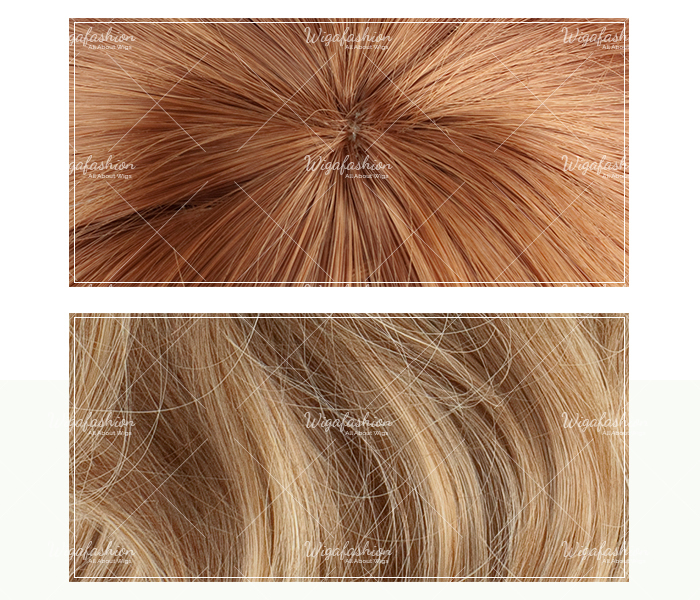 Two Tone Dark Brown/Blonde Long Wavy 70cm-closeup.jpg